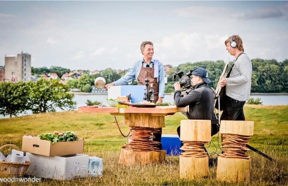 log stools made of wood