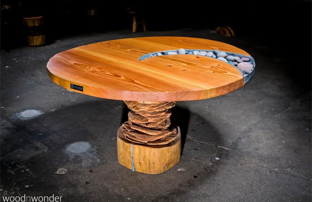 round plank table made of wood with zinc boxes
