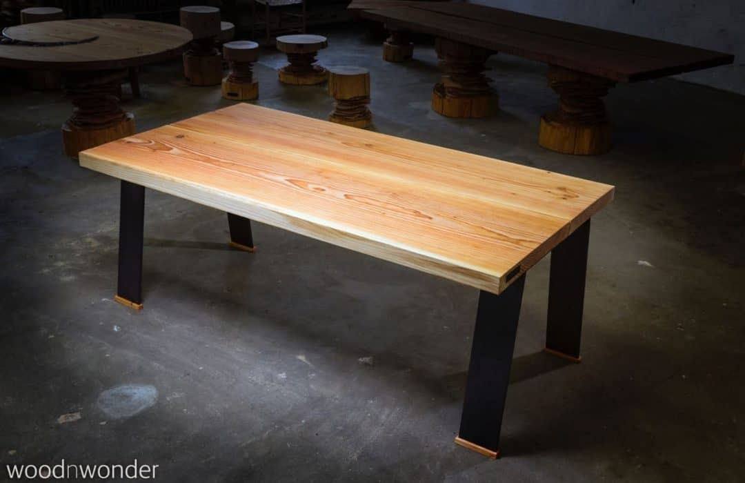 plank table with flat non-galvanized legs