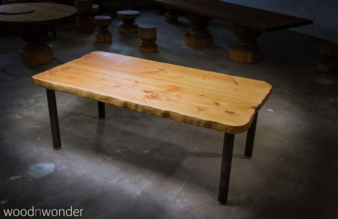 plank table with round non-galvanized legs