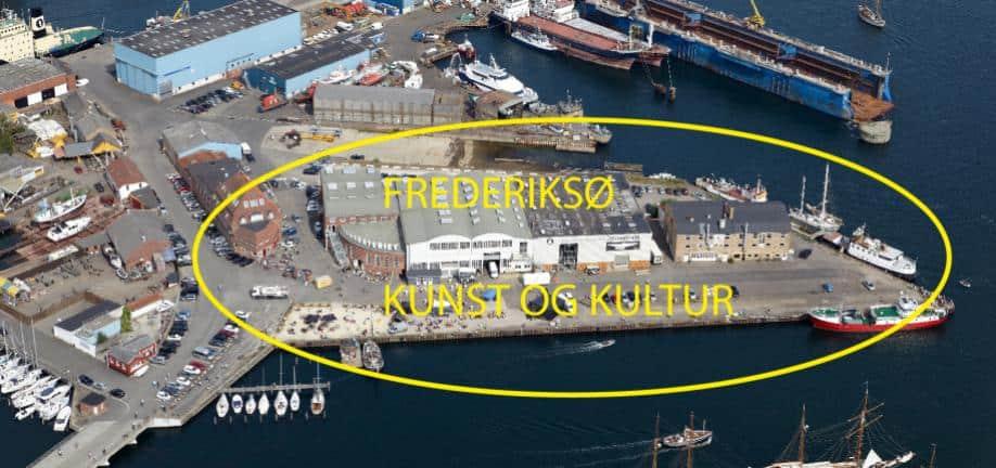 Udsigt over Frederiksø på Svendborg Havn og det tidligere skibsværft.